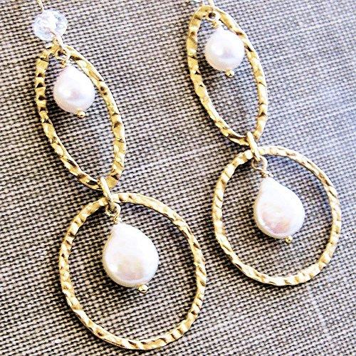 Long Pearl Earrings 14kt Gold Filled Hammered Hoops Akoya Cultured Freshwater Rock Quartz Gemstone