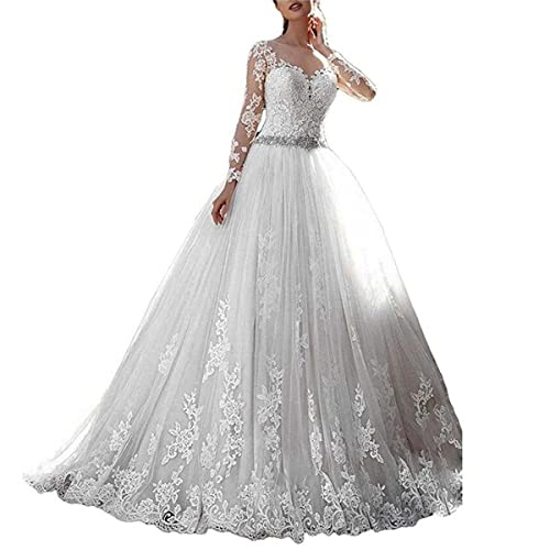Romanticdresses Long Sleeves Wedding Dresses Lace Bridal Gowns Tulle Ball Gowns