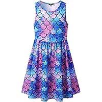Jxstar Girls Sleeveless Unicorn Mermaid Dresses Summer Clothes Hawaiian Beach Outfits