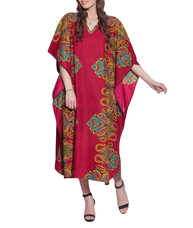Freie Größe Tunika Lässig Baumwolle Kaftan Gedruckt Komfortable Luftige Kleidung Festkleid Für Frauen Indian