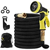 "STORUP 50foot Garden Hose Double Latex Core Expandable Water Hose with 3/4"" Solid Brass Fittings,Leakproof Water Hose with 9 Function Spray Nozzle,Perfect for Washing Car (Garden Hose)"