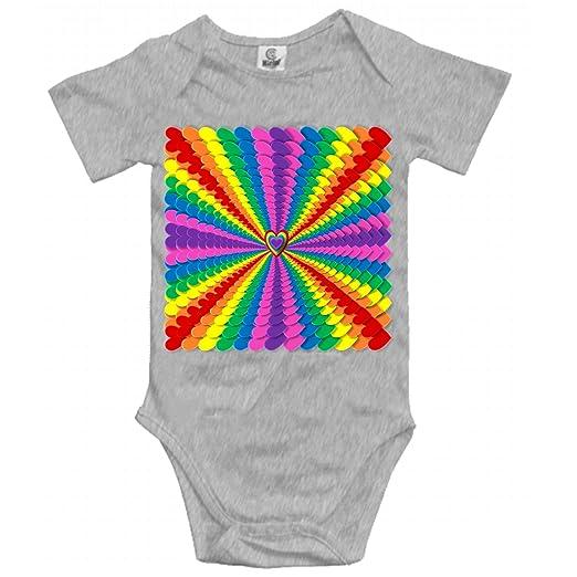 b7109009fb29 Amazon.com  XIAOTT Rainbow Hearts Onesies Short Sleeve Bodysuits ...