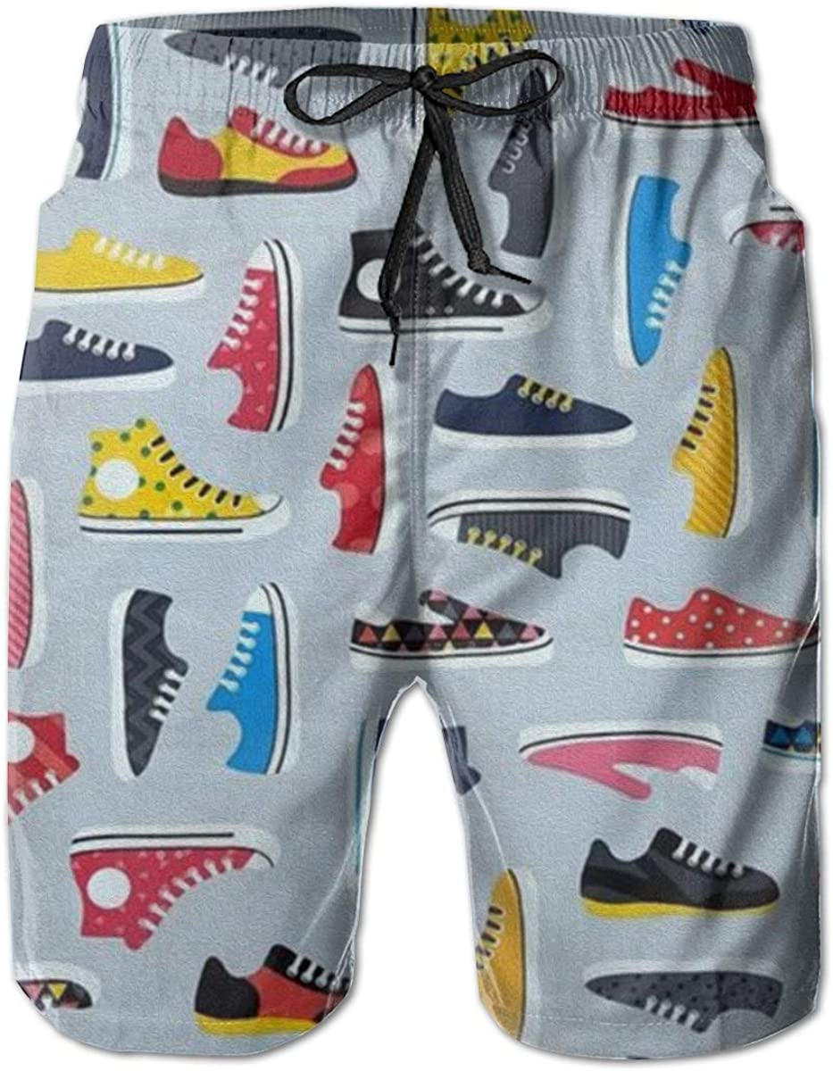 Mens Swim Trunks Quick Dry Summer Holiday Beach Shorts with Mesh Lining Canvas Shoes Pattern Beachwear