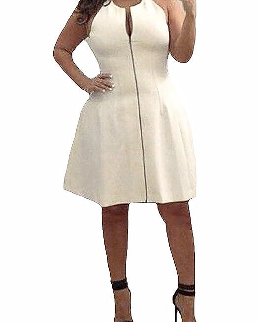 StyleDome Vestido Corto Elegante Casual Fiesta sin Mangas Cóctel Noche para Mujer Gordita Blanco EU 42