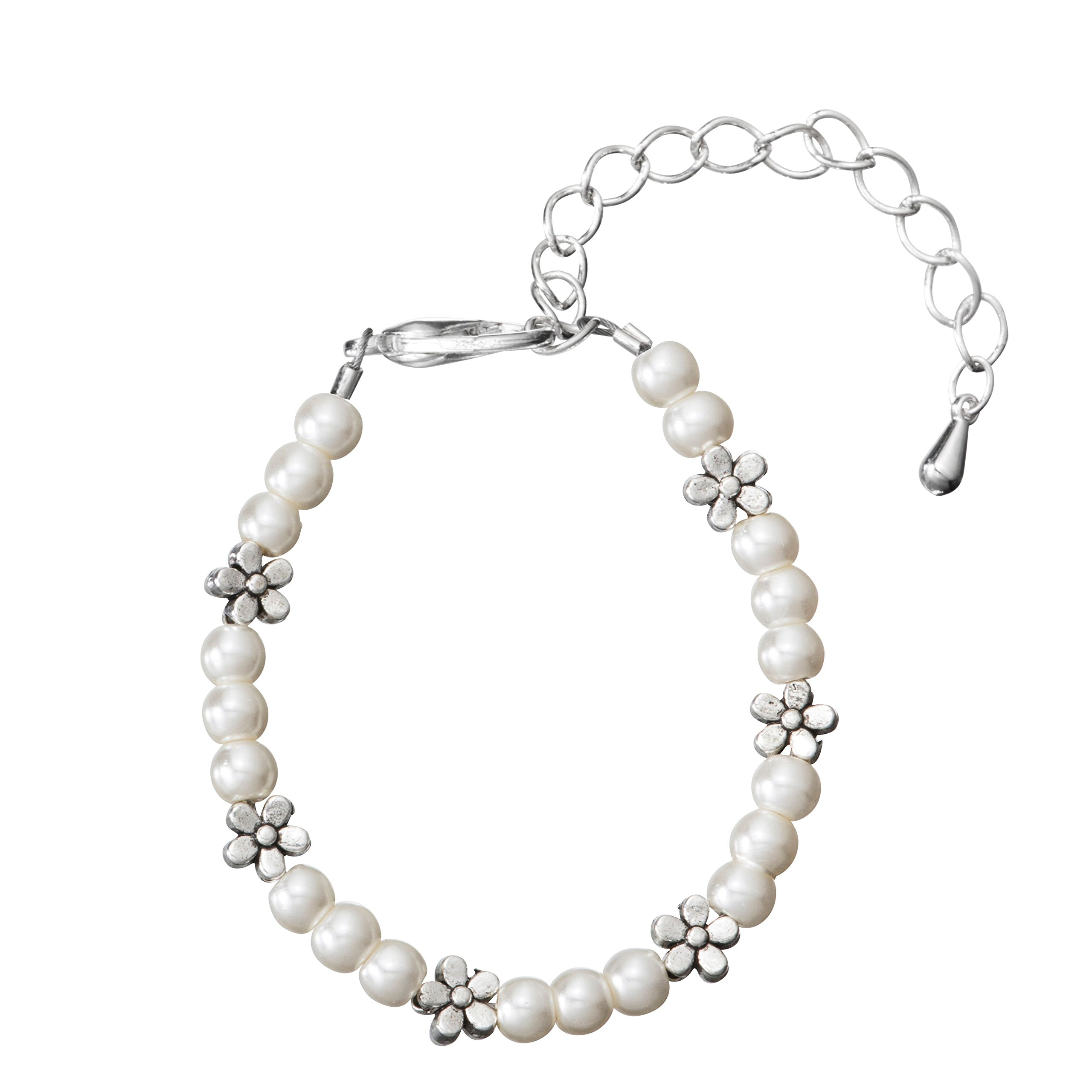 Crystal Dream Cream Czech Glass Pearls with Pewter Flowers Child Bracelet with 2'' Extender (BPG10_M)