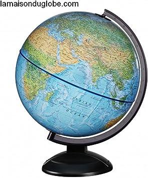 JPC Globe terrestre lumineux 30 cm First en RELIEF bleu