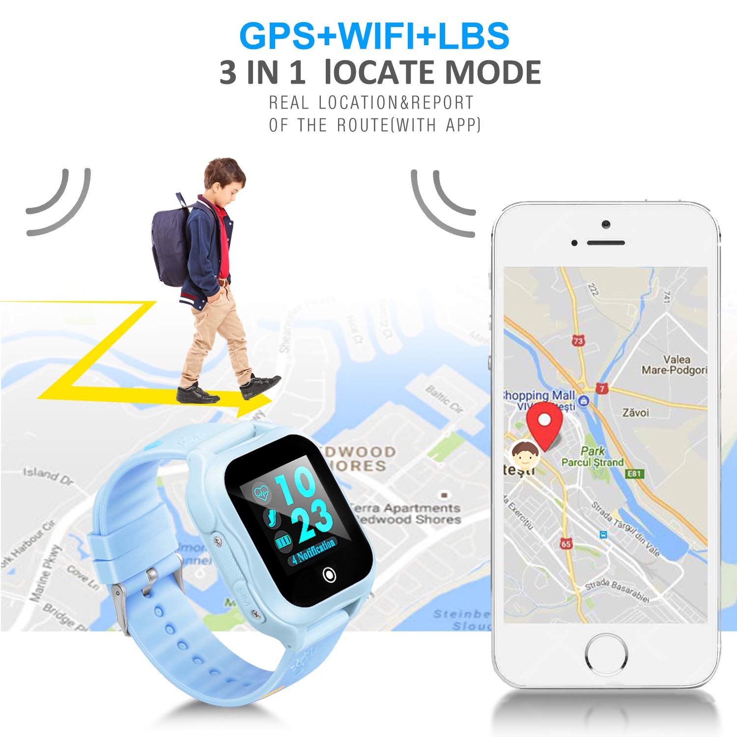 Amazon.com: Kids GPS Phone Watch Waterproof App Remote Control,Unlocked Kids Watch Phone Voice Chat Touch Screen Camera,Compatible Android iOS: Cell Phones ...