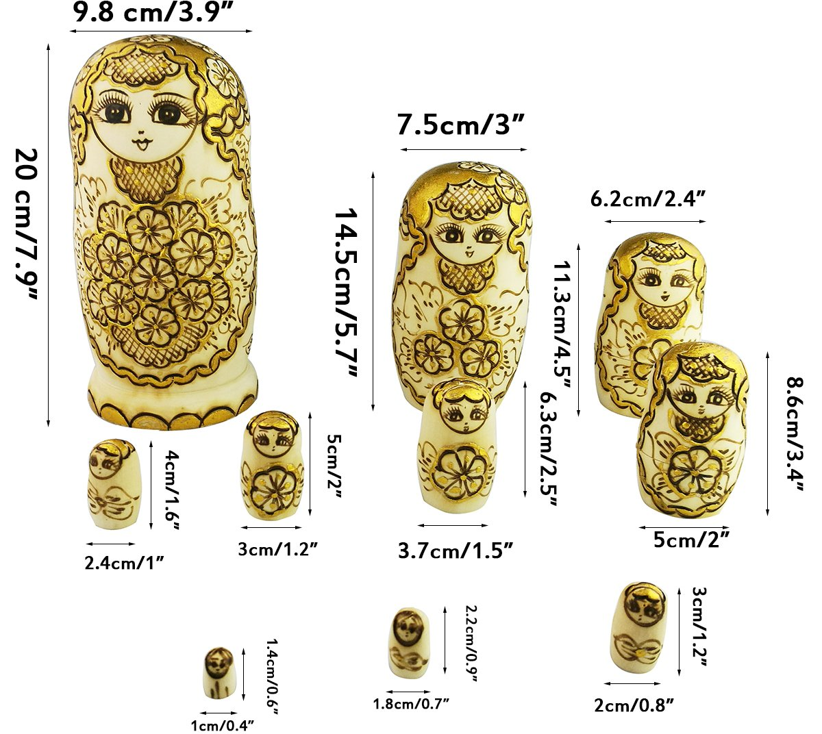 Winterworm Beautiful Attractive Adorable Exotic Glossy Yellow Gold Flower Pattern Handmade Wooden Russian Nesting Dolls Matryoshka Dolls Set 10 Pieces for Kids Toy Birthday by Winterworm (Image #4)