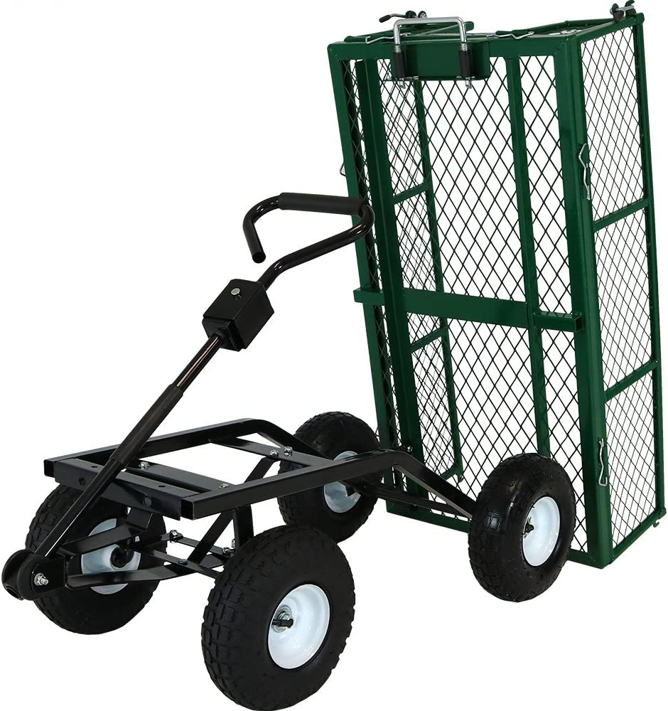 Sunnydaze Utility Steel Dump Garden Cart, Outdoor Lawn Wagon with Removable Sides, Heavy-Duty 660 Pound Capacity, Green