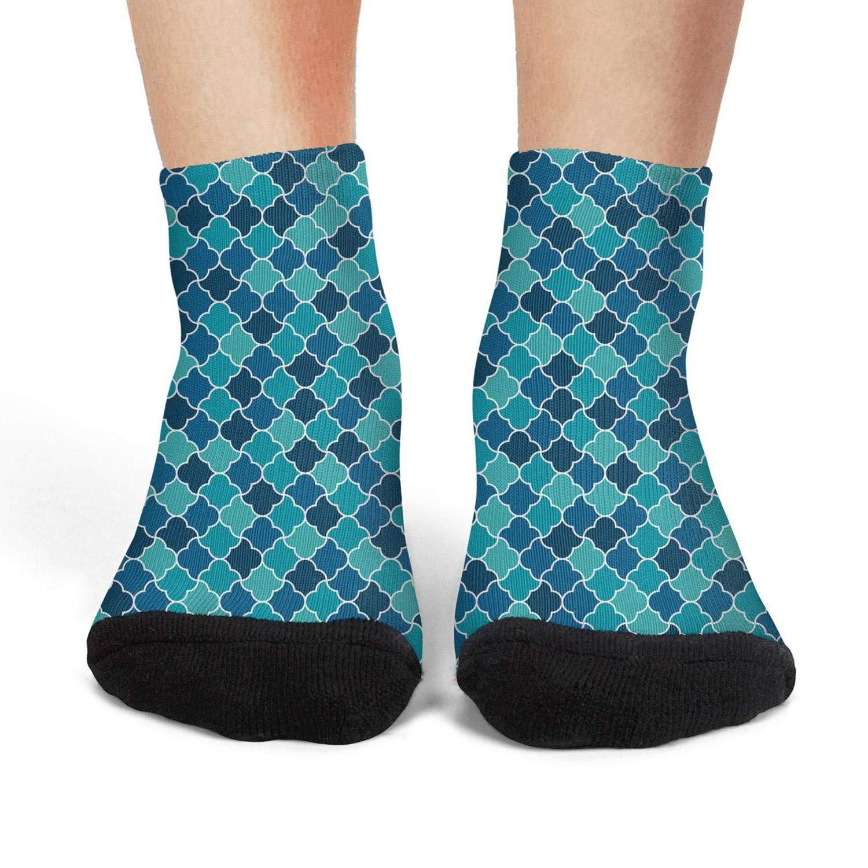 Mens athletic low cut Ankle sock Beautiful Blue Mosaice Lattice Non-Slip Comfort Short Sock