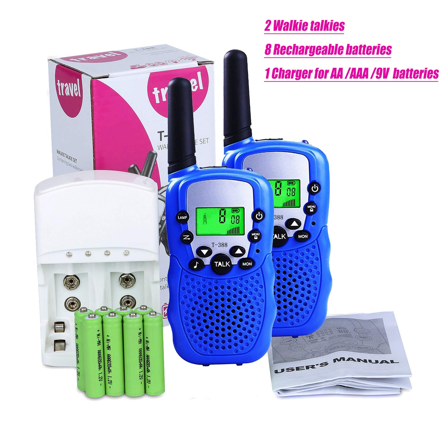 Walkie Talkies for Kids, 22 Channel 3 Mile Long Range Rechargeable FRS Two Way Radio Toys with Flashlight and LCD Screen for Boys&Girls.(Pack of 2, 8pcs Rechargeable Batteries , a Charger Included) by ZWTOPWZ (Image #7)