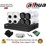 Dahua 8 channel HDCVI DVR with 4 HDCVI IR 1MP Dome Camera, 4 HDCVI IR 1MP Bullet Camera, 90 Meter CCTV Wire, 1 TB WD Hard Disk & Power supply