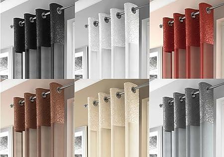 Santa Cruz Eyelet Voile Crushed Metallic Satin Curtain Panel Ready Made