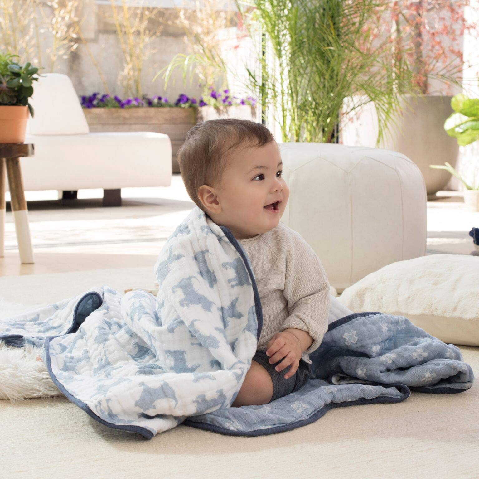 aden + anais Dream Blanket; 100% Cotton Muslin; 4 Layer Lightweight and Breathable; Large 47 X 47 inch; Waverly - Pup by aden + anais (Image #3)
