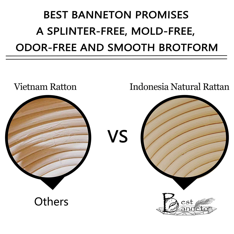 Banneton Proofing Basket Banneton Brotform - Cuenco redondo de ratán para pan y masa (1000 g, incluye rascador de arco, incluye lima verde
