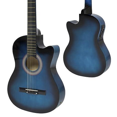 Azul – Set de guitarra acústica eléctrica guitarra eléctrica con diseño + Ebook