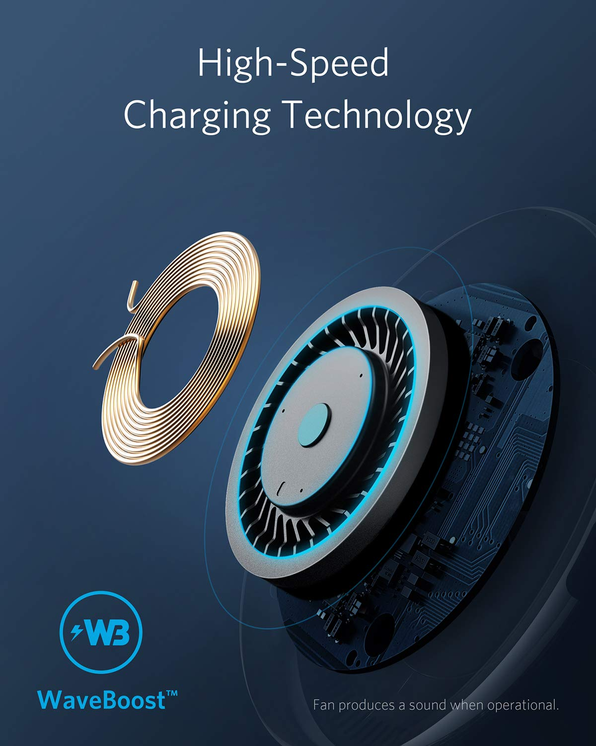 Anker PowerWave 7.5 Fast Wireless Charging Pad with Internal Cooling Fan 10W Charges Galaxy S9//S9+//S8 Qi-Certified 7.5W Compatible iPhone Xs Max//XR//XS//X//8//8 Plus LG G7 with Quick Charge Adapter