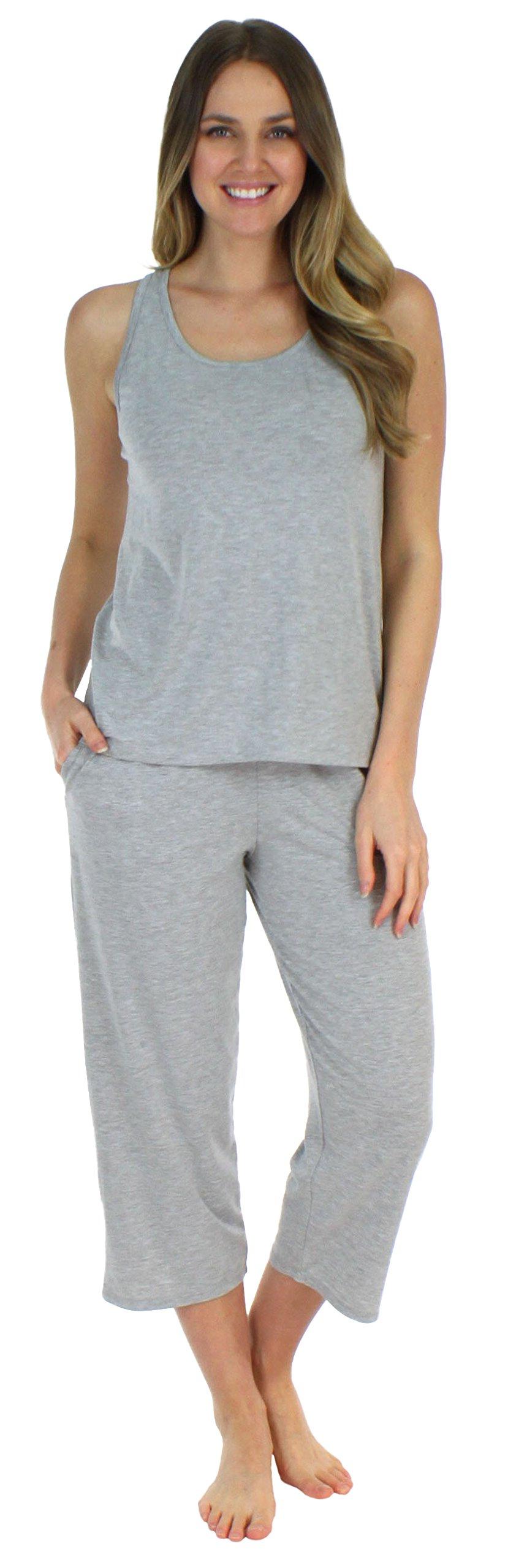 Sleepyheads Women's Sleepwear Jersey Lightweight Tank Top and Capri Pajama Set (SH1832-2027-MED)
