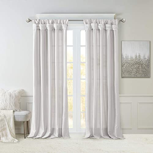 Madison Park Emilia Faux Silk Curtain with Privacy Lining, DIY Twist Tab Top, Window Drapes for Living Room, Bedroom and Dorm, 50×120, Silver