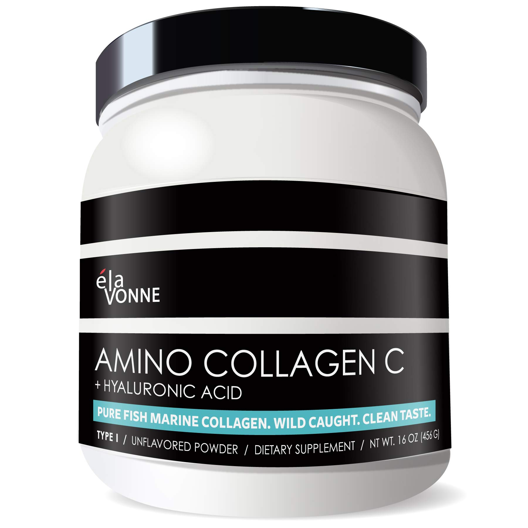 Amino Collagen C with Hyaluronic Acid (60 Servings _ 16oz _456g) - Non-GMO Marine Collagen Peptides - Hydrolyzed Powder - Unflavored - No Sugar - for Firm Skin, Hydration, Healthy Joints and Gut.