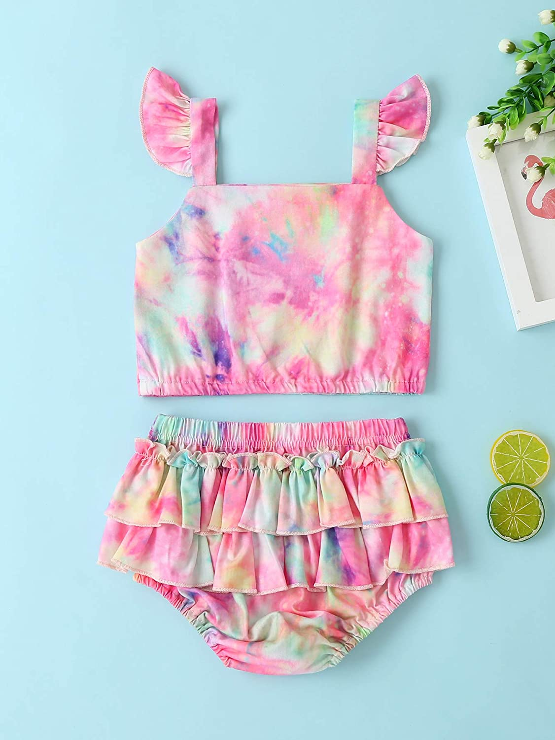 Infant Baby Girl Tie-Dye Shorts Set Cute Fly Sleeveless Crop Tops Ruffle Bloomer Short Pants Outfit