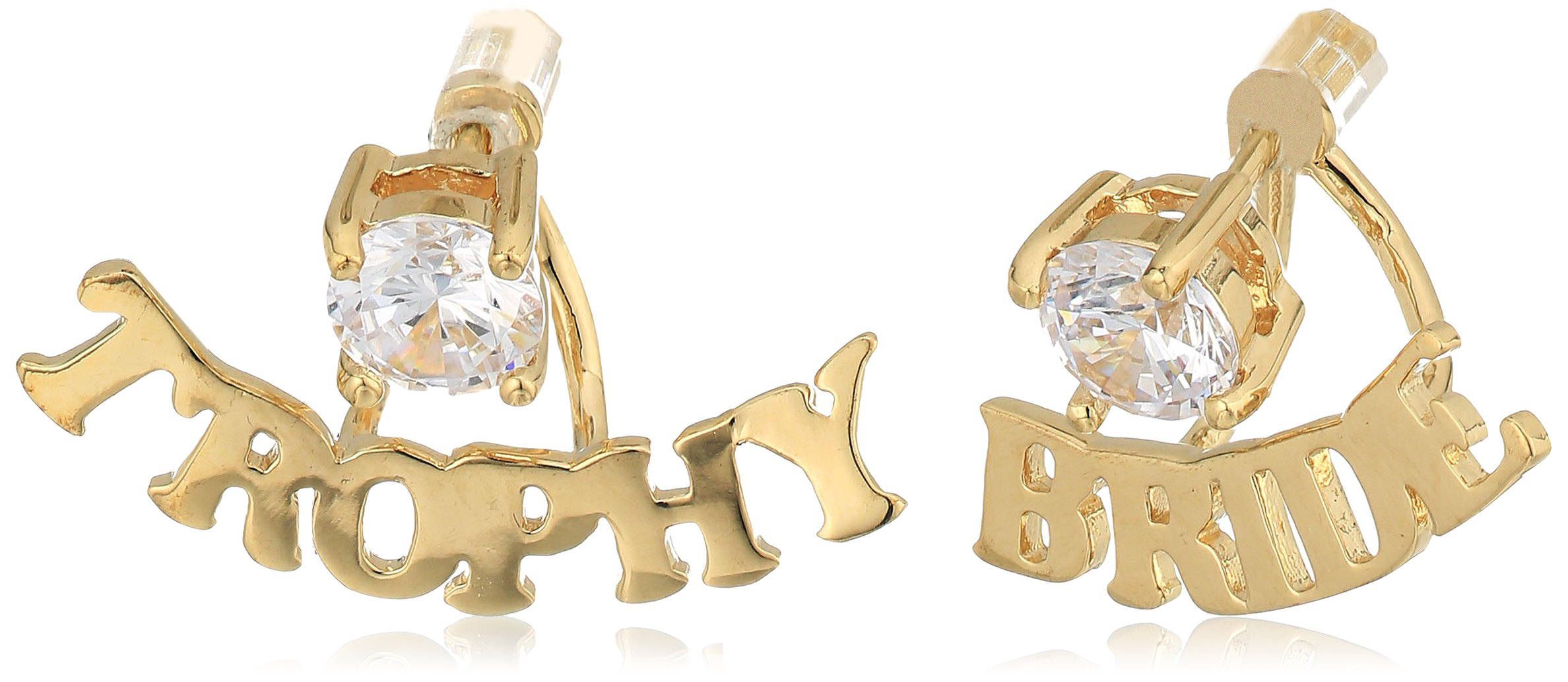 betsey johnson''blue word play'' gold and cubic zirconia''trophy bride'' earring jacket