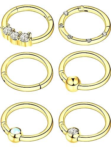 Blulu 6 Piezas de Aro de Nariz Anilla de Clicker con Bisagras de Acero Inoxidable 16G Anilla de Labio CZ Cristal Opal Joyería de Piercing, 6 Estilos