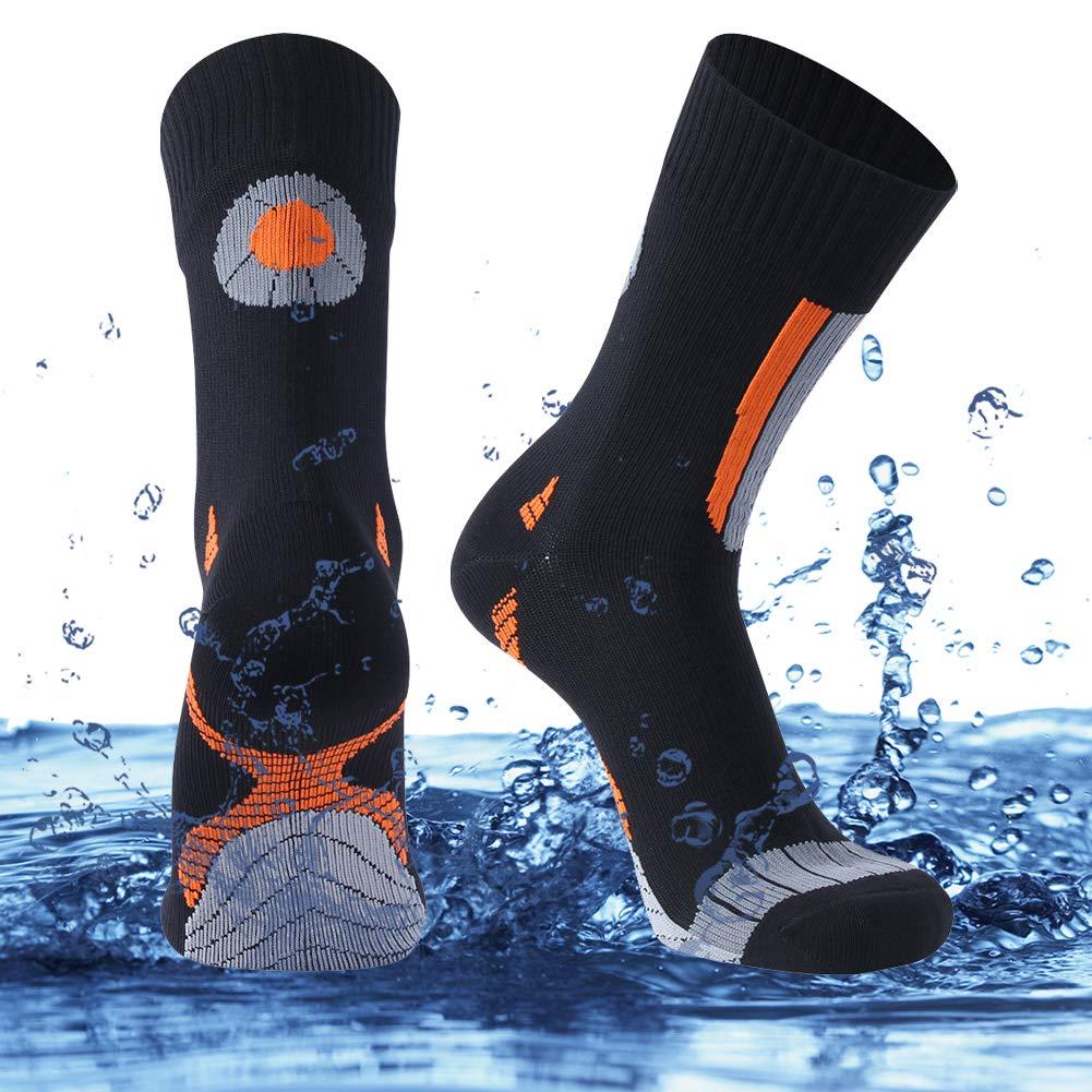 SuMade Waterproof Cycling Socks, Mens 100% Water-resistant Cushioned Breathable Coolmax Anti-odor Fishing Hunting Wading Socks as Rain Gear 1 Pair (Black, Large) by SuMade