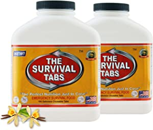 Survival Tabs 30 Day 360 Tabs Emergency Food Survival Food Meal Replacement MREs Gluten Free and Non-GMO 25 Years Shelf Life Long Term Food Storage - Vanilla Flavor