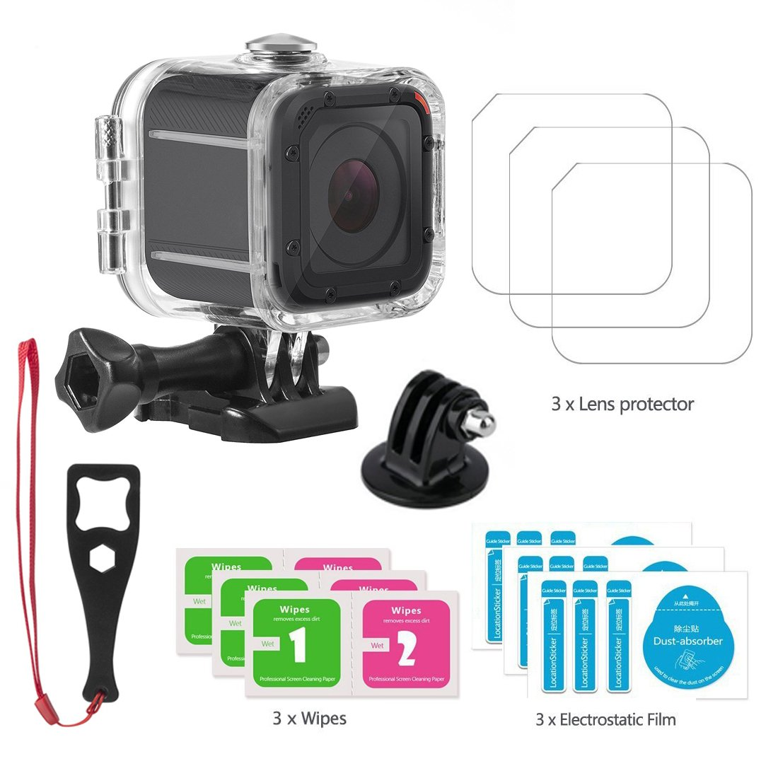 Accessories Compatible Gopro Hero 5 Session, Waterproof Housing Protective Case for Gopro Hero5 Session 45m Underwater Diving Shell
