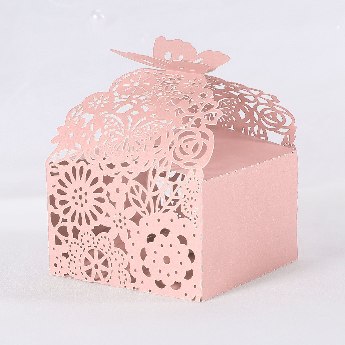 Buy LUOEM 50PCS Wedding Favor Candy Boxes Hollow Out Bridal Shower ...