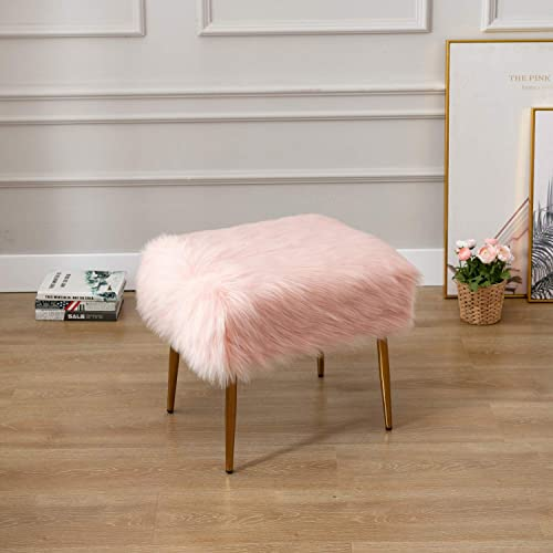 DM Furniture Faux Fur Vanity Stool Furry Long Hair Foot Stool Pink Ottoman Fuzzy Footstool with Metal Legs for Living Room, Bedroom, Dining Room, Home Decorative, Pink