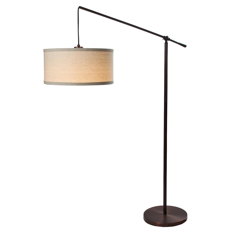 Threshold torchiere floor lamp textured bronze 65 - Amazon Com Brightech Hudson Pendant Floor Lamp Classic Elevated Crane Arc Floor Lamp With Linen Textured Hanging Lamp Shade Tall Industrial