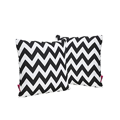Christopher Knight Home Jerry Outdoor Black and White Chevron Water Resistant Square Throw Pillow (Set of 2) : Garden & Outdoor