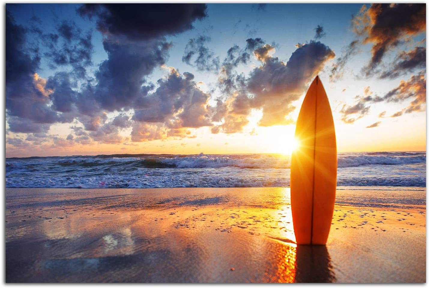 Startonight Glass Wall Art - Sunset on The Beach and Surfing Decor - Tempered Acrylic Glass Artwork 24 x 36 Inches
