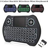 Backlit Wireless Mini Keyboard,RGB 3 Color 2.4GHZ Mini Keyboard Backlight with Touchpad and Mouse Remote Control Compatible w