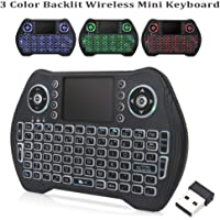 Backlit Wireless Mini Keyboard,RGB 3 Color 2.4GHZ Mini Keyboard Backlight with Touchpad and Mouse Remote Control…