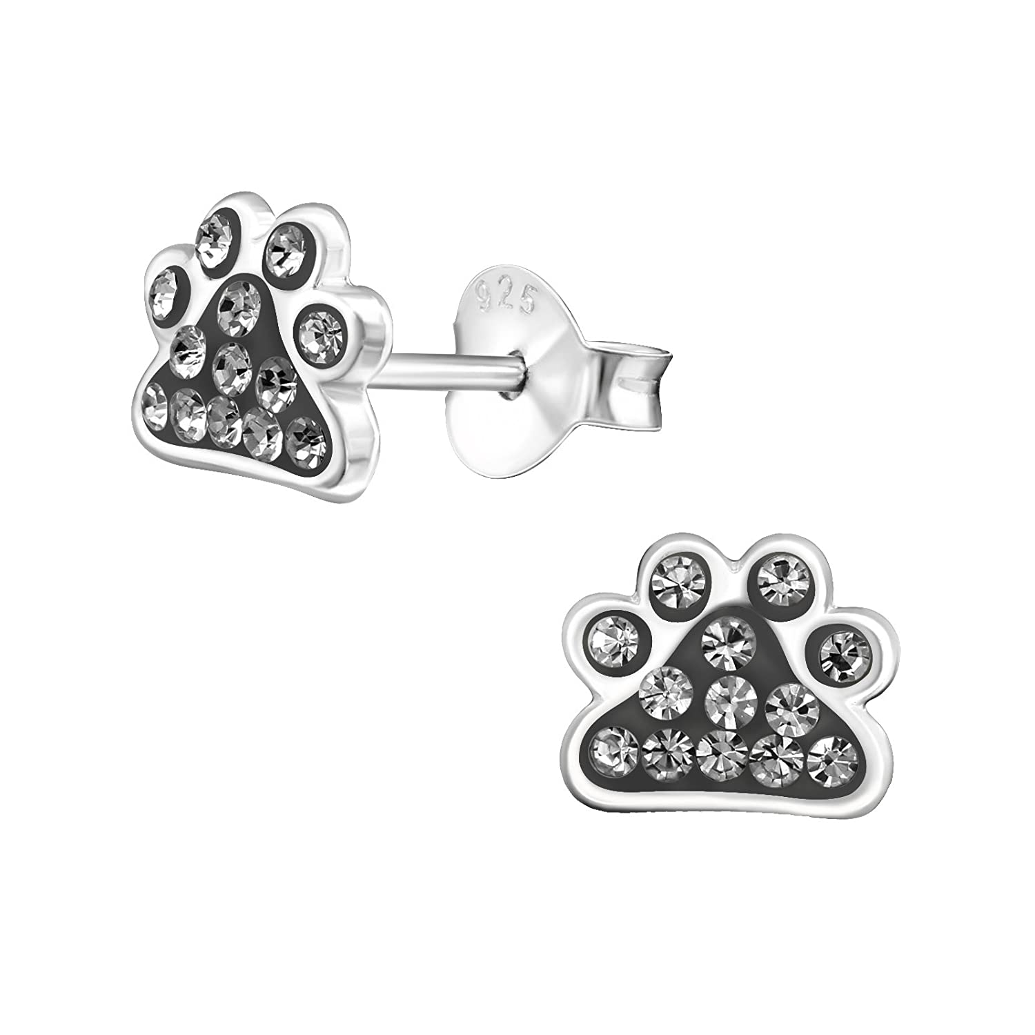 Laimons Womens Stud Earrings with Glittery Design Small 925 Sterling Silver Grey
