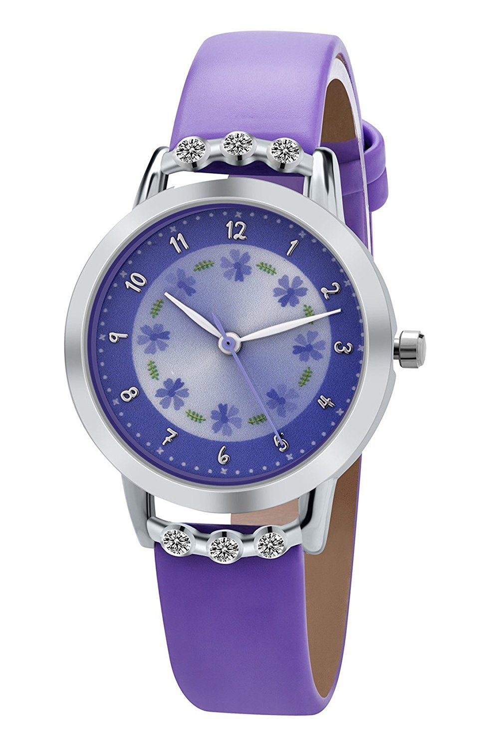 Girl Watches PASNEW Easy Use and Easy Reader Time Leather Band Watch for Kids Purple