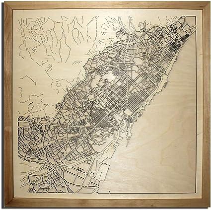 WoodArt Mapa de la Ciudad de Madera Barcelona España decoración Imagen Pueblo Cortado con láser Mapa de Pared Arte Madera Hecho a Mano 20 x 20 Pulgadas: Amazon.es: Coche y moto