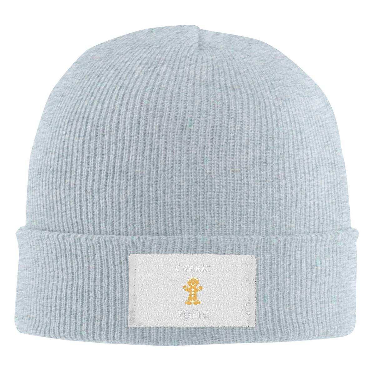 Dunpaiaa Skull Caps Cookie Baking Team Christmas Winter Warm Knit Hats Stretchy Cuff Beanie Hat Black