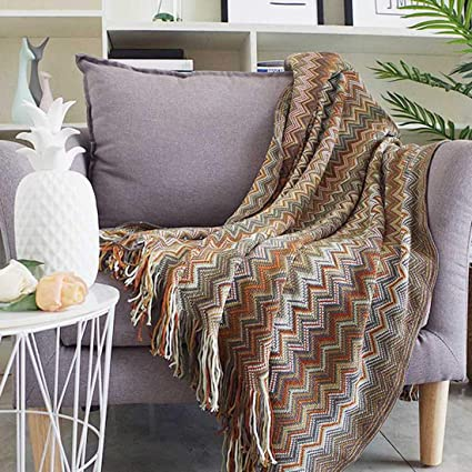 Incredible Noreen Winter Thick Multicolored Turkish Cotton Bohemian Throw Blanket For Women With Decorative Fringe And Striped For Couch Cover Sofa Chair Bed Ncnpc Chair Design For Home Ncnpcorg