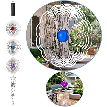 Reflective 3d Whirligig Wind Spinners With Rotating Motor Sparkling