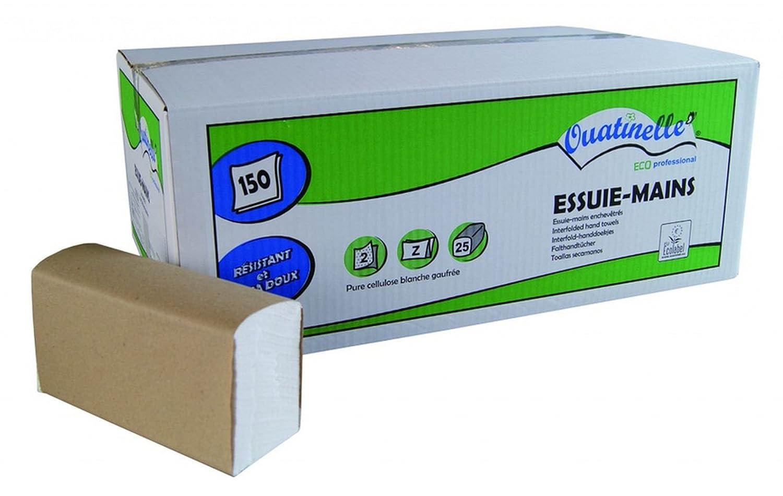 Ouatinelle - Cartone da 25pacchetti di tovaglioli di carta (3750) per le mani, dimensioni: 220x 230 cm,piegatura a Z con 2 pieghe, bianchi, con Ecolabel H254M