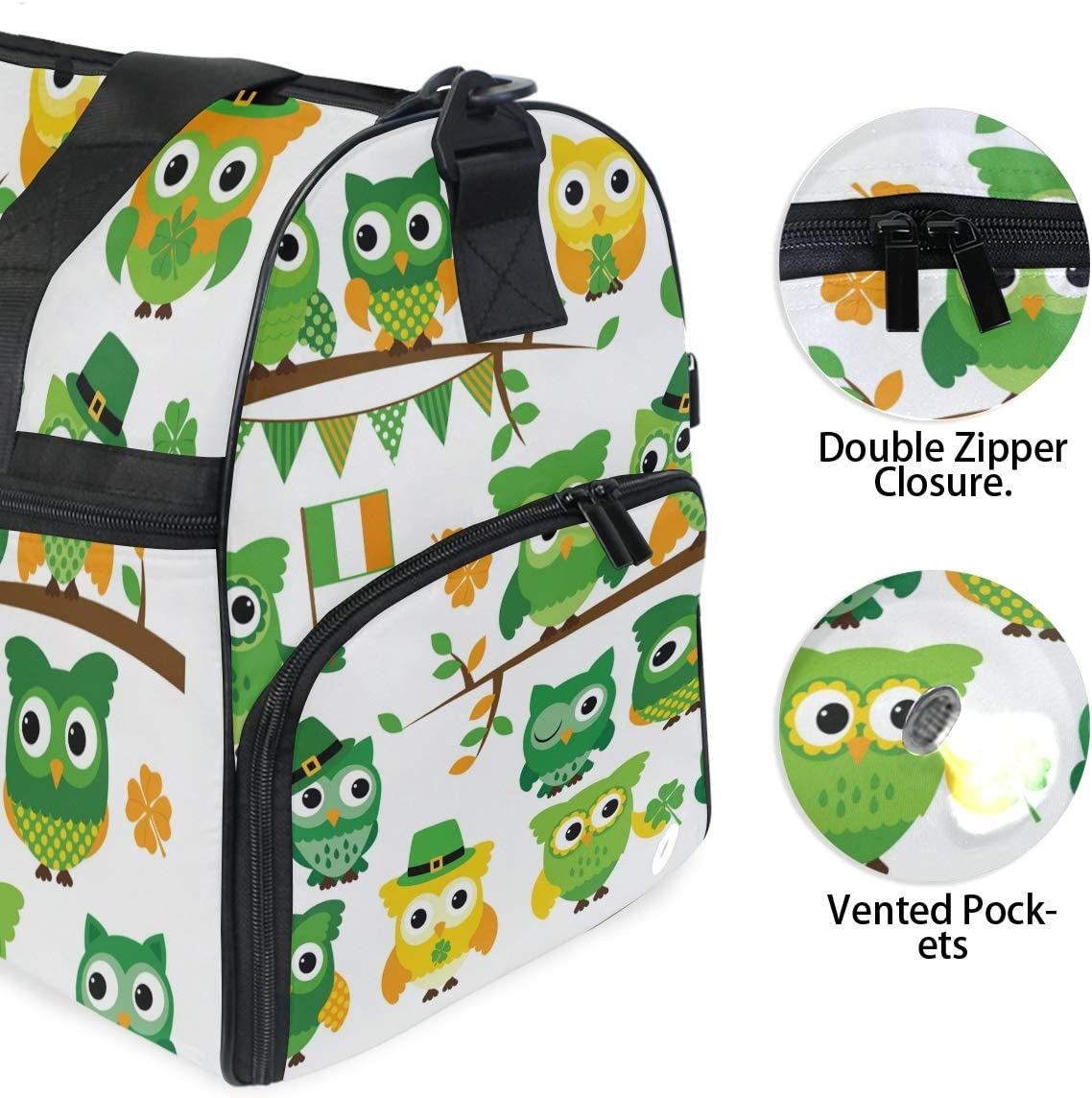 Patricks Day Owl Theme Duffel Bag Sports Gym Weekend Bags with Shoe Compartmen TFONE St