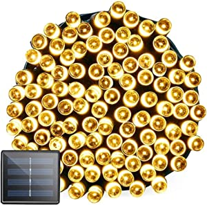 Beinhome Solar String Lights, Ultra Bright Series 72ft 200 Led 8 Modes Solar Fairy Christmas Lights Outdoor Waterproof for Garden, Homes, Party, Wedding, Xmas Tree, Halloween Decorations (Warm White)