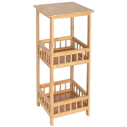 HollyHOME 3 Tier Bamboo Sofa Table,12.68u0026quot;x12.68u0026quot;x31.5u0026quot