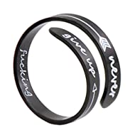 Laser Power Adjustable Inspirational Silver Keep Going Ring Stainless Steel Adjustable Bands Cool Stacking Opening  Gift for Women Statement