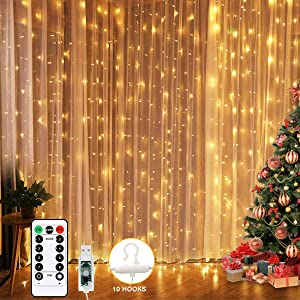 Bedroom LED Curtain Lights, Christmas 300 Led Window Curtain Lights, Led Fairy Light Curtains for Wedding Party Home Garden Bedroom Outdoor Indoor Wall Decorations Warm White 9.8x9.8 Ft