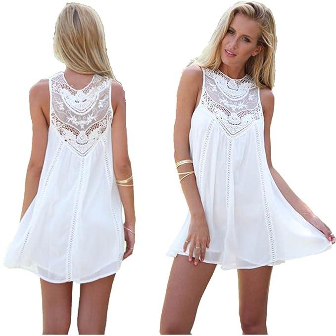 665e50910 Fiesta de noche de verano casual mujer sin mangas Mini vestido blanco corto  de playa (